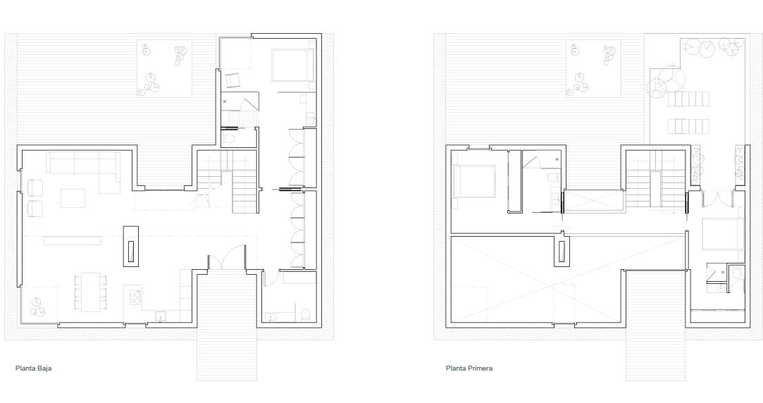Vivienda unifamiliar 2 1 m arquitectos for Planos de viviendas unifamiliares
